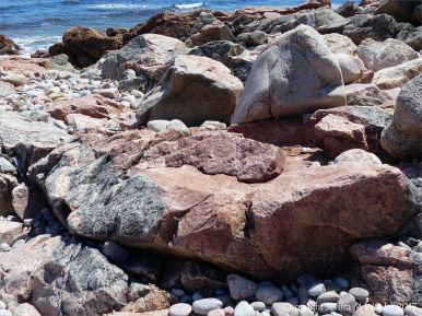 Contrasting colours of rocks at Black Brook Cove