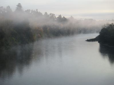 American River, Fair Oaks Bridge, mist, morning, chilly,