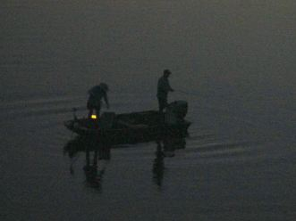boat, American River, twilight, fishing
