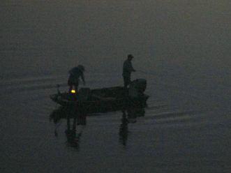 boat, American River, twilight, fishing