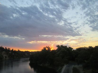 sunrise, morning, Fair Oaks Bridge, American River, water, writing, nature, wildlife