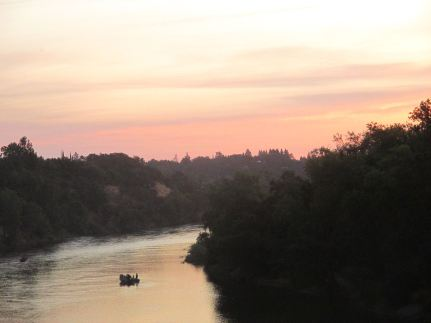 sunrise, morning, Fair Oaks Bridge, American River, peaceful, fishermen