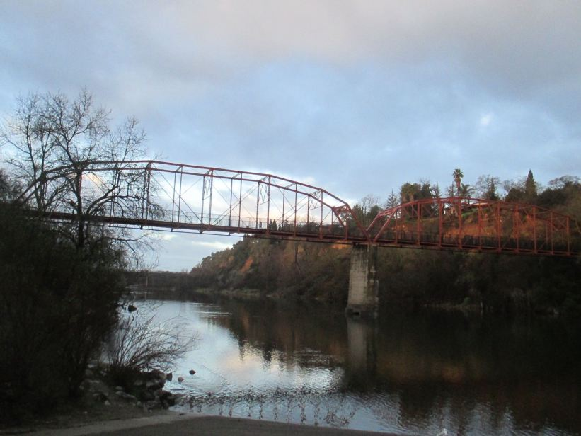 Fair Oaks Bridge, beautiful, John Muir, days, mornings, write, nature, outdoors words, Fair Oaks Bridge, American River, clouds, expression