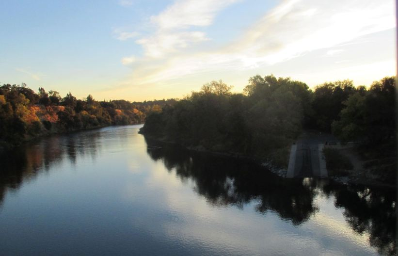 Fair Oaks Bluff, Fair Oaks Bridge, American River, mornings, nature, outdoors, river, writing, photography,clouds, reflection