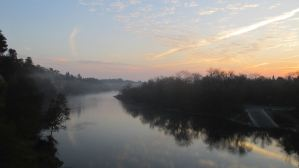 sunrise, morning, Fair Oaks Bluff, Fair Oaks Bridge, American River, mist, clouds