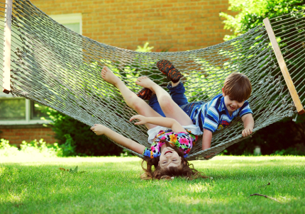 Playing in a Hammock