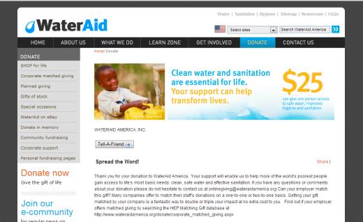 wateraid donation