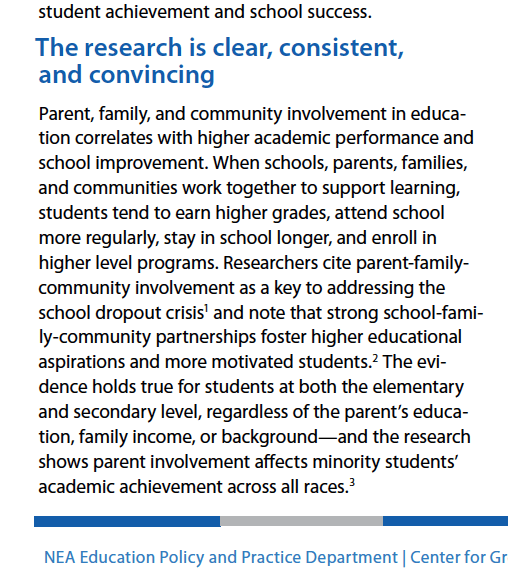 National Education Association PDF associating parent, family, and community involvement in education with higher academic performance and school improvement...across all minorities and races.