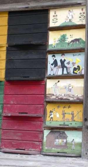 Detail of decoration on Slovenian bee house (c) Dave Larkin