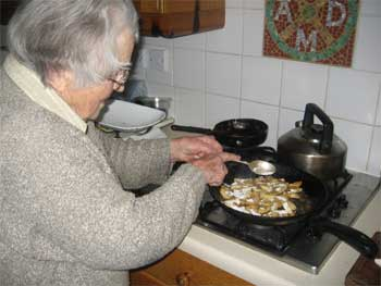 Mary cooking mushrooms