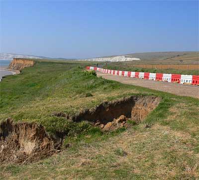 Military road landslip, Isle of Wight