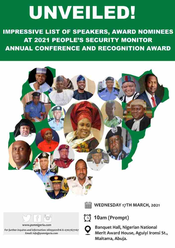 Yahaya Bello, Patience Jonathan, Malami, Mustapha, others bags prestigious people's security monitor award