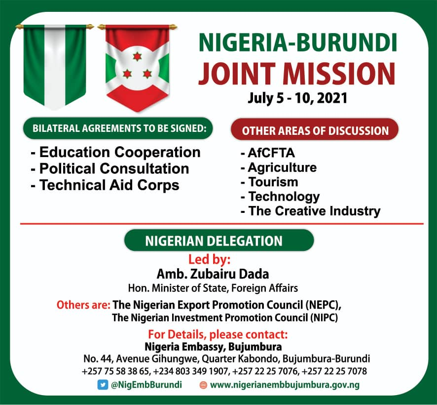 The Inaugural Session Of The Nigeria – Burundi Joint Commission Billed To Hold In July 2021