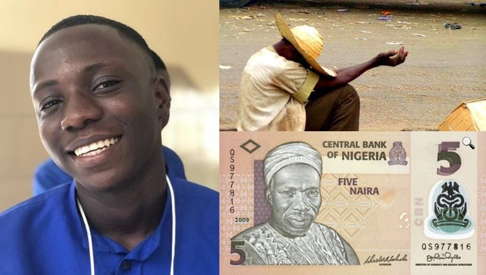 Beggar Angrily Rejects 5 Naira Given To Him By A Passer By
