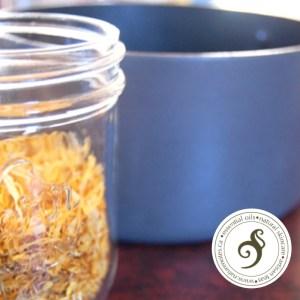 jar of calendula with pot