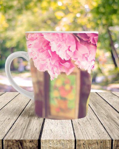 peony print coffee cup latte mug