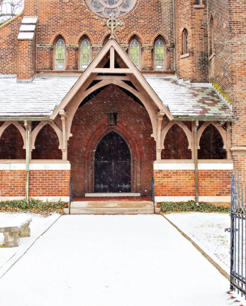 Medieval church in snow photo