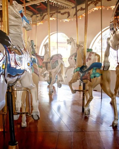seaport village carousel horses child's view shadows and light