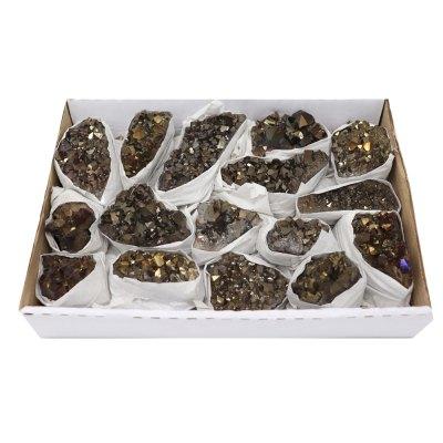 ACMG - Titanium Gold Amethyst Clusters Flat