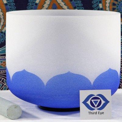 SBQCA - Frosted Quartz Crystal Singing Bowl: A Third Eye/Cobalt- Dark Blue /LA
