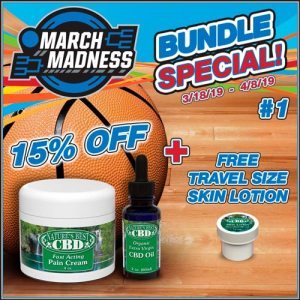 Picture of Nature's Best CBD March Madness Product Bundle #2 which includes 15% off both a 4oz CBD Pain Cream and any flavor 2oz CBD Oil, with a bonus of a free 1/2 oz travel size CBD Skin Lotion.