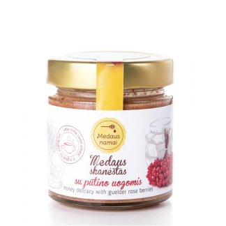 Raw honey with guelder rose berries