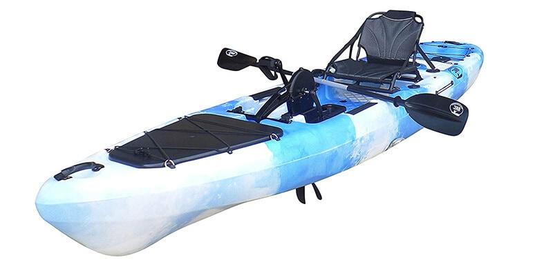 BKC UH-PK13 Pedal Drive Solo Traveler 13 Foot Kayak - Pedal Propeller Drive Single Sit On Top Fishing Kayak