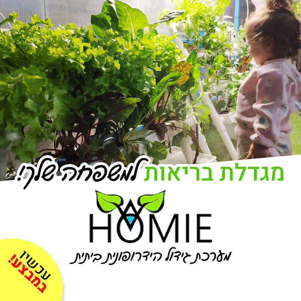 מערכת הידרופונית HOMIE8 לגידות 8 צמחים בשיטת NFT