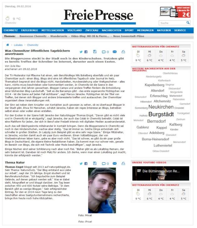 Freie Presse vom 09.Februar 2016