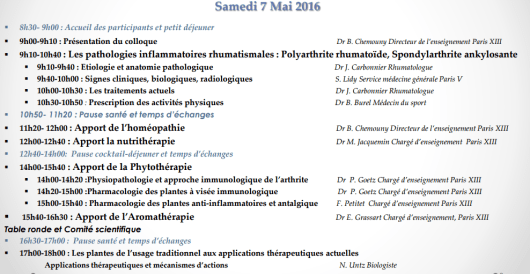 Programme rencontres phytothérapie 7 mai 2016