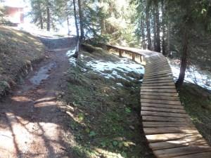 Streckenabschnitt der Downhillstrecke Oberlech-Lech mit parallel geführtem Holzelement