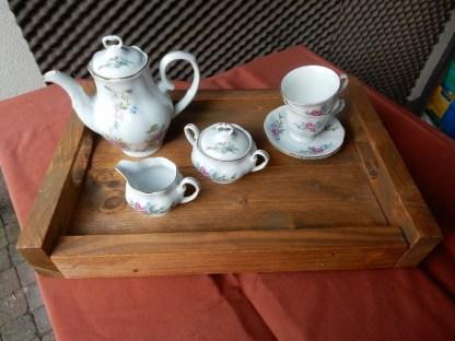 Dienblad van Steigerhout Rechthoekig met thee Servies