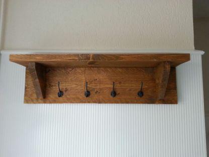 Kapstok van steigerhout 80 cm breed met 4 kapstokhaken in Old-Brown