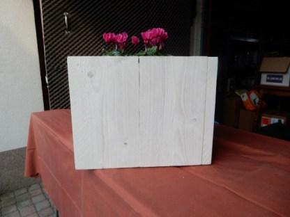 Plantenbak van Steigerhout vierkant in White-wash en afm. 41x41x33cm