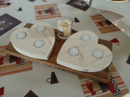 Waxinelichthouder van Steigerhout Love-set in white-wash met Geurkaars