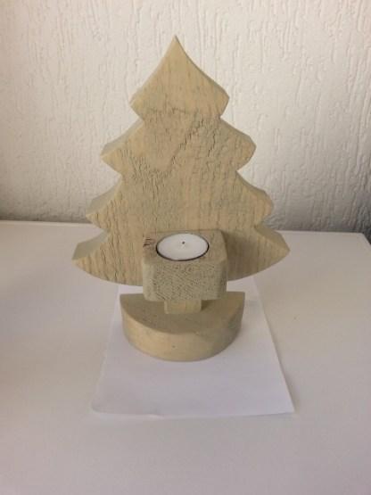 Kerstboompje van Steigerhout waxinelichthouder in grey-wash