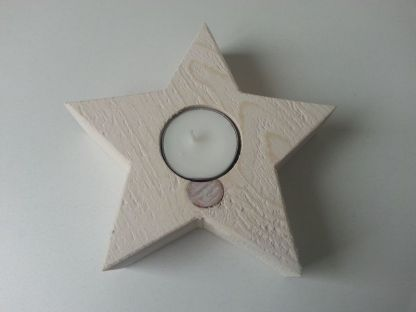 Waxinelichthouder Kerstster Mini van Steigerhout in White-wash