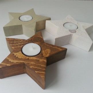 Waxinelichthouder Kerstster Mini in drie kleuren