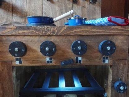 Kinderkeuken van Steigerhout Bedieningspaneel kookplaat