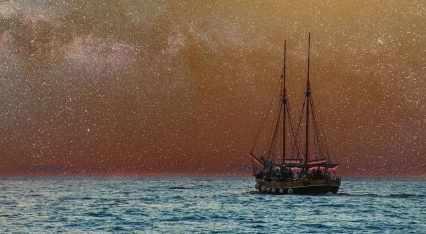 Лодка, звезден пейзаж