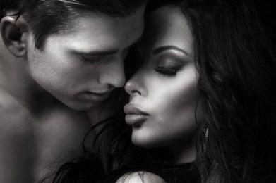 Beautiful couple kissing.
