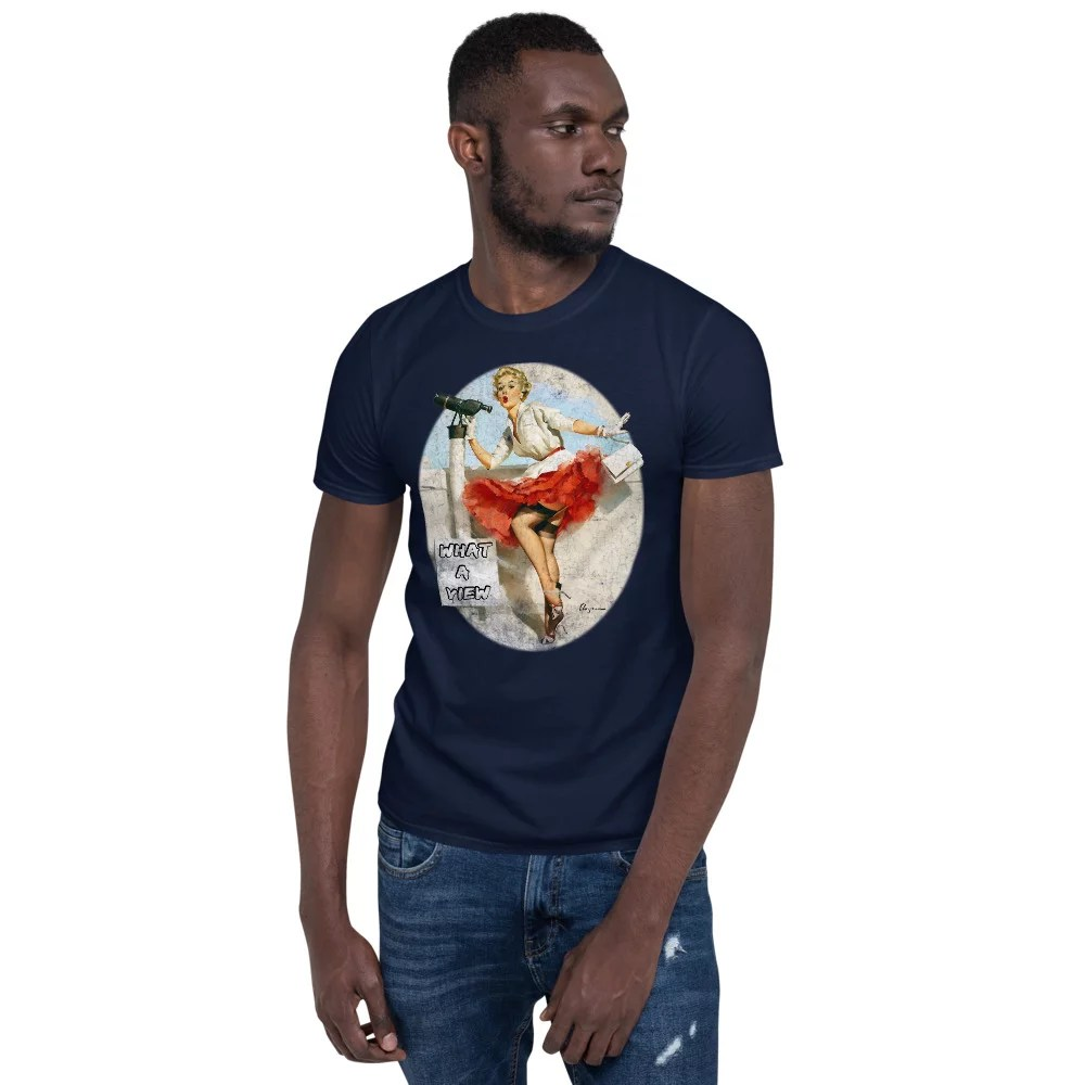 What a View Vintage pin-up unisex t-shirt