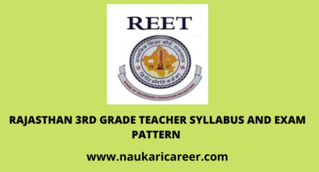 rajasthan 3rd garde teacher syllabus and exam pattern