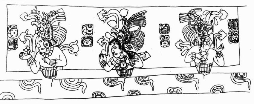 Изображение предков Пакаля на стенках его саркофага