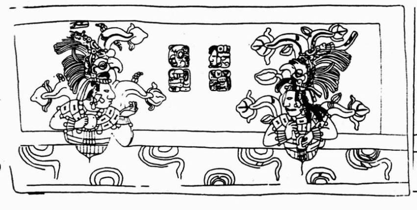 Родители Пакаля Кан Мо Хиш и Иш Сак Кук. Изображение на стенке саркофага