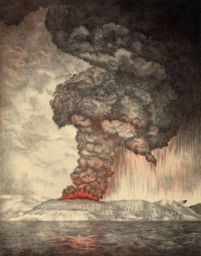 Литография 1889 года, изображающая извержение.