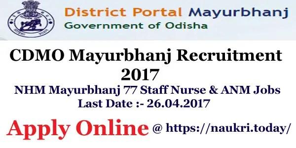 CDMO Mayurbhanj Recruitment 2017