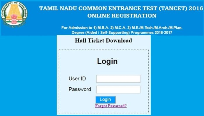 Notification For TANCET 2016 Admit Card Available