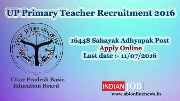 UP Primary Teacher Recruitment 2016