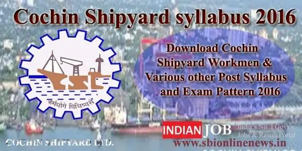 Cochin Shipyard syllabus 2016
